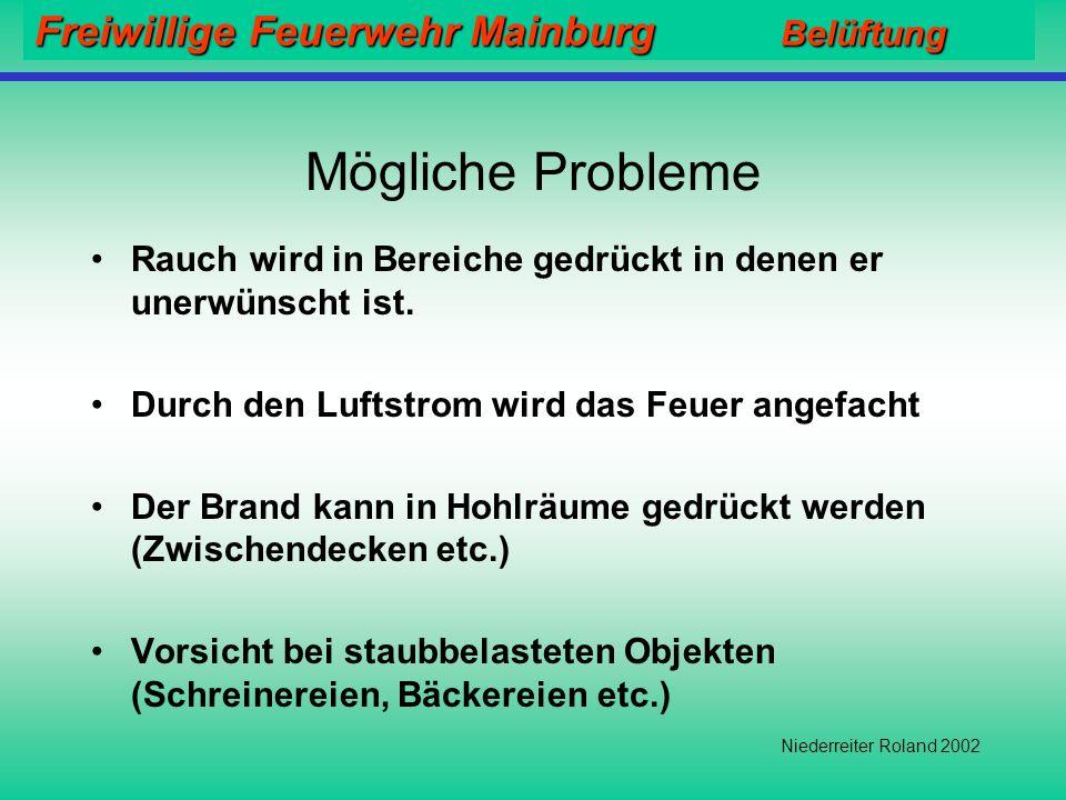 Freiwillige Feuerwehr Mainburg Belüftung Niederreiter Roland 2002 Vergleich der CO Konzentration vor und nach einer Überdruckbelüftung MAK-Wert = 30 ppm