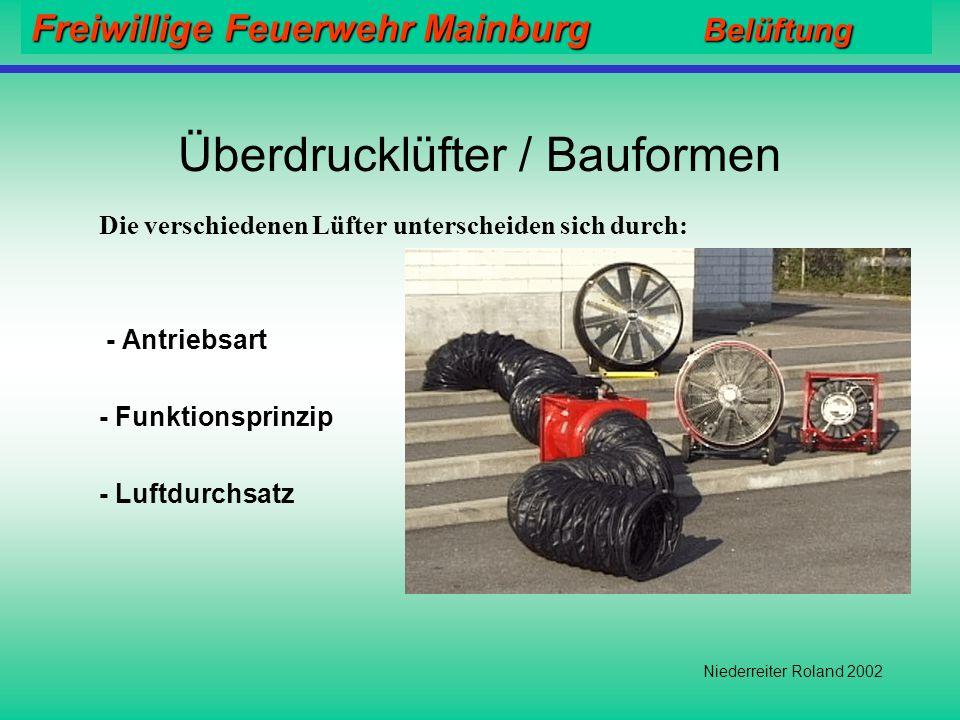 Freiwillige Feuerwehr Mainburg Belüftung Niederreiter Roland 2002 Einsatzgrundsätze Erst Abluftöffnung schaffen  Dann Einschalten des Lüfters !! Stän