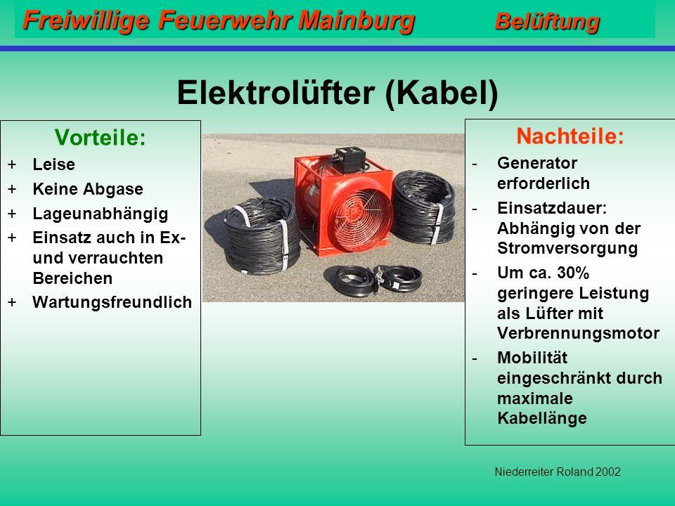 Freiwillige Feuerwehr Mainburg Belüftung Niederreiter Roland 2002 Motorgetriebene Lüfter Vorteile: +Schnell und einfach einsetzbar +Unabhängiger Einsatz +Hohe Mobilität Nachteile: -Sehr Laut -Abgase -Funktion lageabhängig -Einsatzdauer: ca.