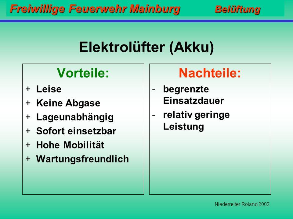 Freiwillige Feuerwehr Mainburg Belüftung Niederreiter Roland 2002 Elektrolüfter (Kabel) Vorteile: +Leise +Keine Abgase +Lageunabhängig +Einsatz auch i