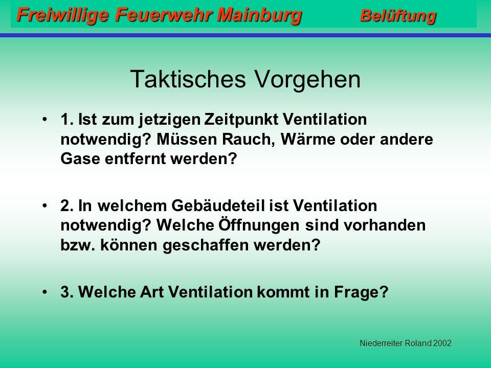 Freiwillige Feuerwehr Mainburg Belüftung Niederreiter Roland 2002 Elektrolüfter (Akku) Vorteile: +Leise +Keine Abgase +Lageunabhängig +Sofort einsetzb