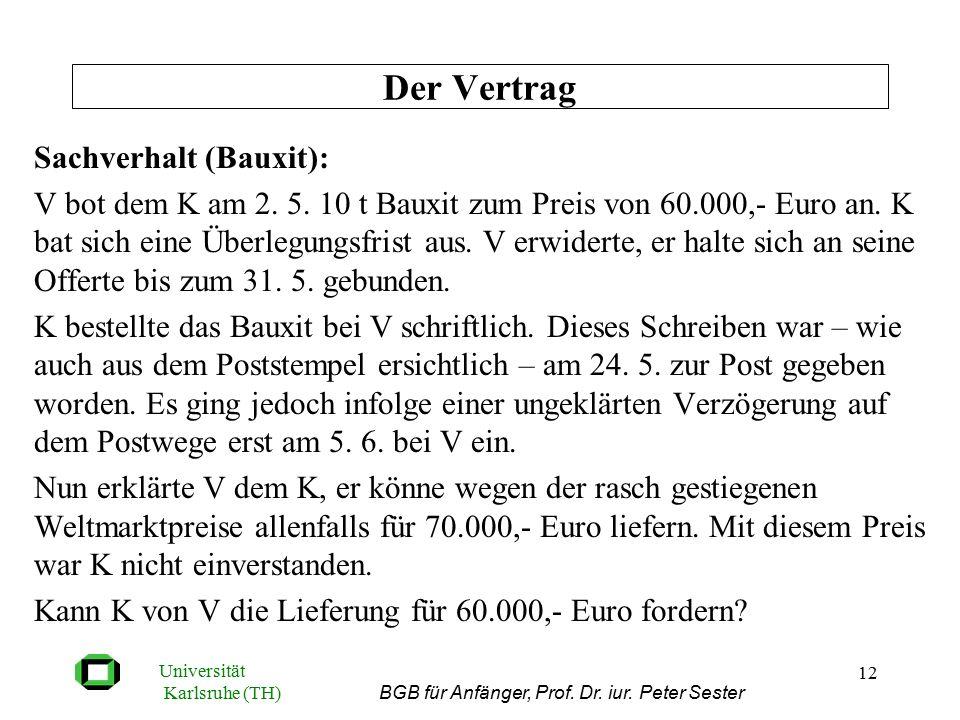 Universität Karlsruhe (TH) BGB für Anfänger, Prof. Dr. iur. Peter Sester 12 Sachverhalt (Bauxit): V bot dem K am 2. 5. 10 t Bauxit zum Preis von 60.00