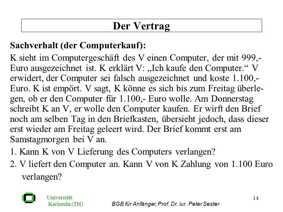 Universität Karlsruhe (TH) BGB für Anfänger, Prof. Dr. iur. Peter Sester 14 Sachverhalt (der Computerkauf): K sieht im Computergeschäft des V einen Co