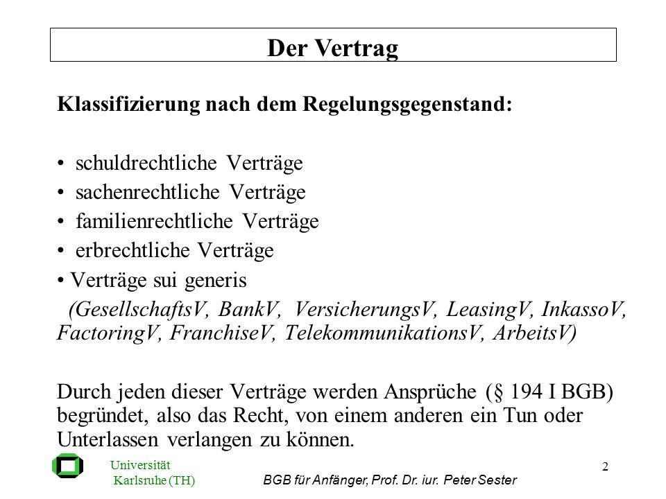 Universität Karlsruhe (TH) BGB für Anfänger, Prof. Dr. iur. Peter Sester 2 Klassifizierung von Verträgen nach dem Regelungsgegenstand Klassifizierung