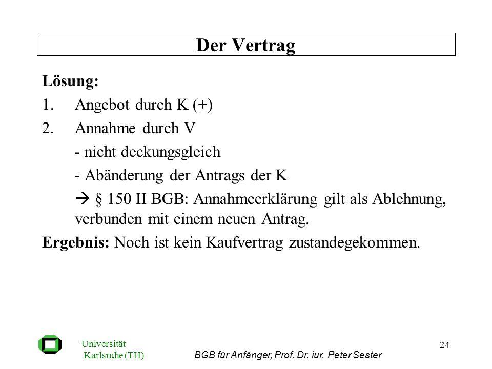 Universität Karlsruhe (TH) BGB für Anfänger, Prof. Dr. iur. Peter Sester 24 Lösung: 1.Angebot durch K (+) 2.Annahme durch V - nicht deckungsgleich - A