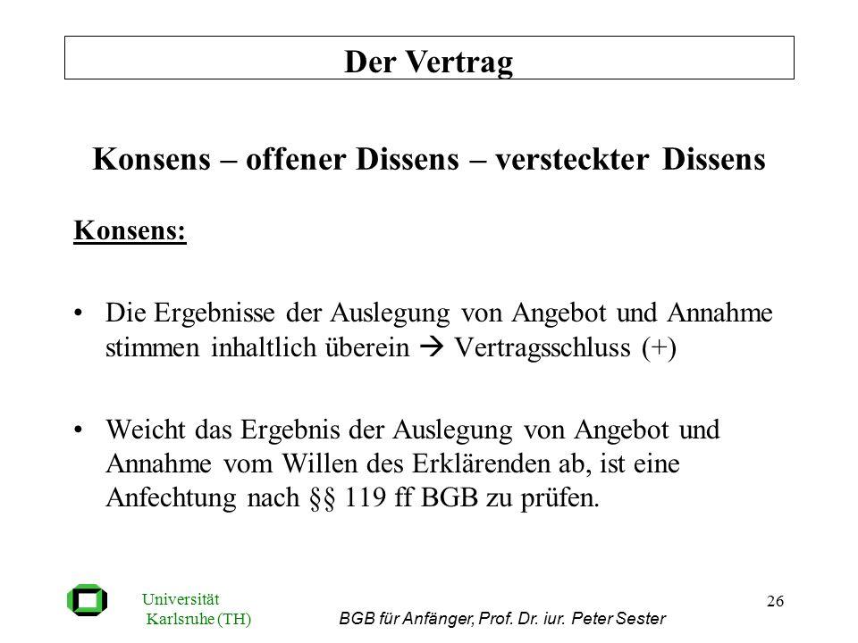 Universität Karlsruhe (TH) BGB für Anfänger, Prof. Dr. iur. Peter Sester 26 Konsens – offener Dissens – versteckter Dissens Konsens: Die Ergebnisse de