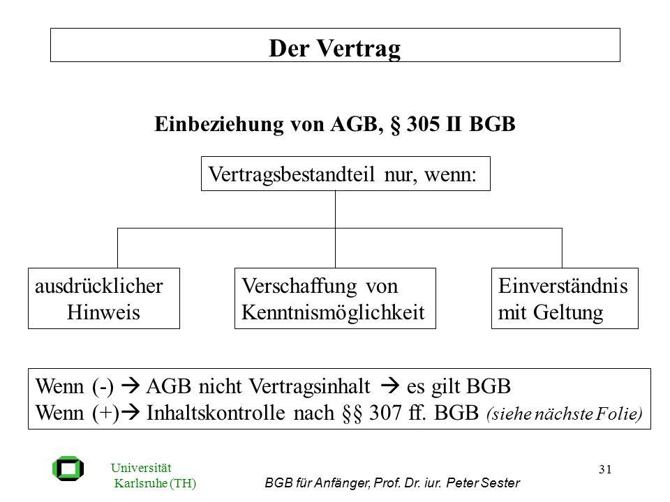 Universität Karlsruhe (TH) BGB für Anfänger, Prof. Dr. iur. Peter Sester 31 Einbeziehung von AGB, § 305 II BGB Der Vertrag Vertragsbestandteil nur, we