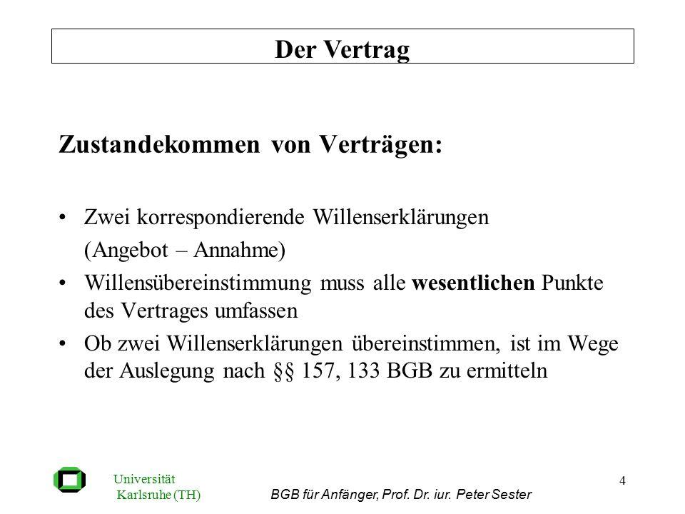 Universität Karlsruhe (TH) BGB für Anfänger, Prof. Dr. iur. Peter Sester 4 Zustandekommen von Verträgen: Zwei korrespondierende Willenserklärungen (An