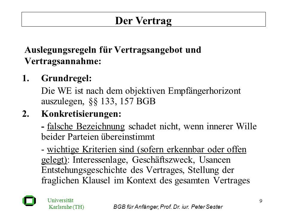 Universität Karlsruhe (TH) BGB für Anfänger, Prof. Dr. iur. Peter Sester 9 Auslegungsregeln für Vertragsangebot und Vertragsannahme: 1.Grundregel: Die