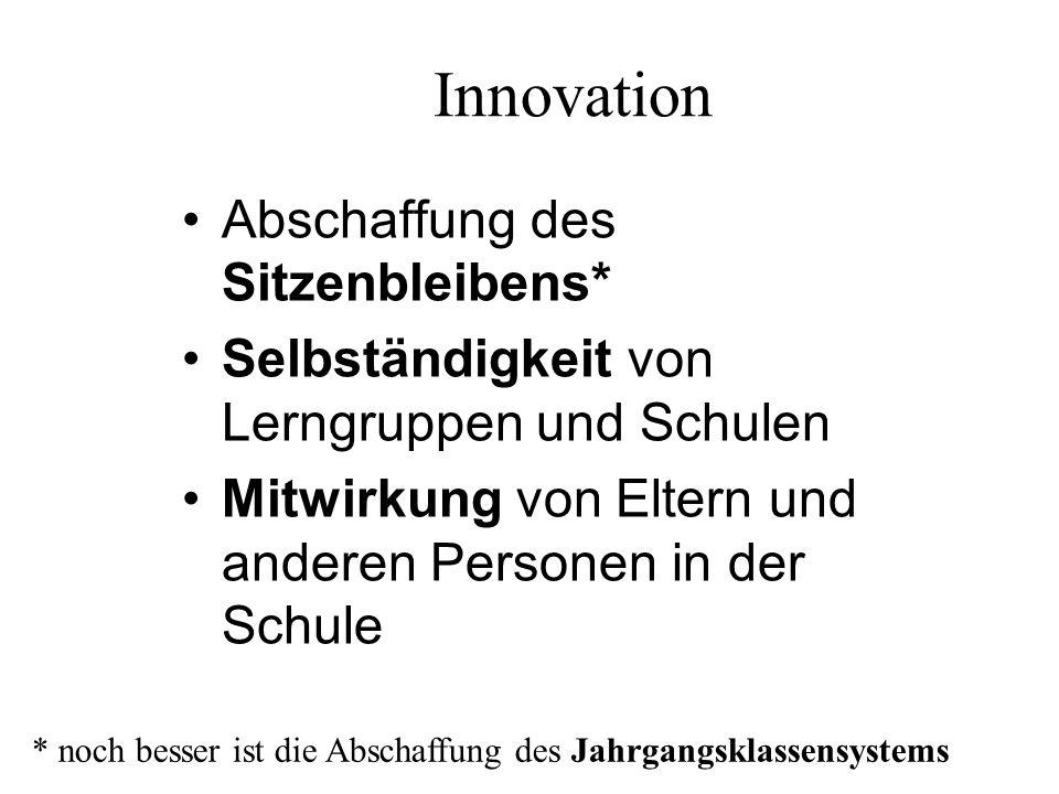 """Innovation """"Trägen Wissensballast entfernen* Schul- und Studienzeit verkürzen und flexibilisieren Studiengänge durch Bausteinsysteme ersetzen (modularisieren) * betrifft den Lehrplan, die Art der Vermittlung und die Prüfungspraxis"""