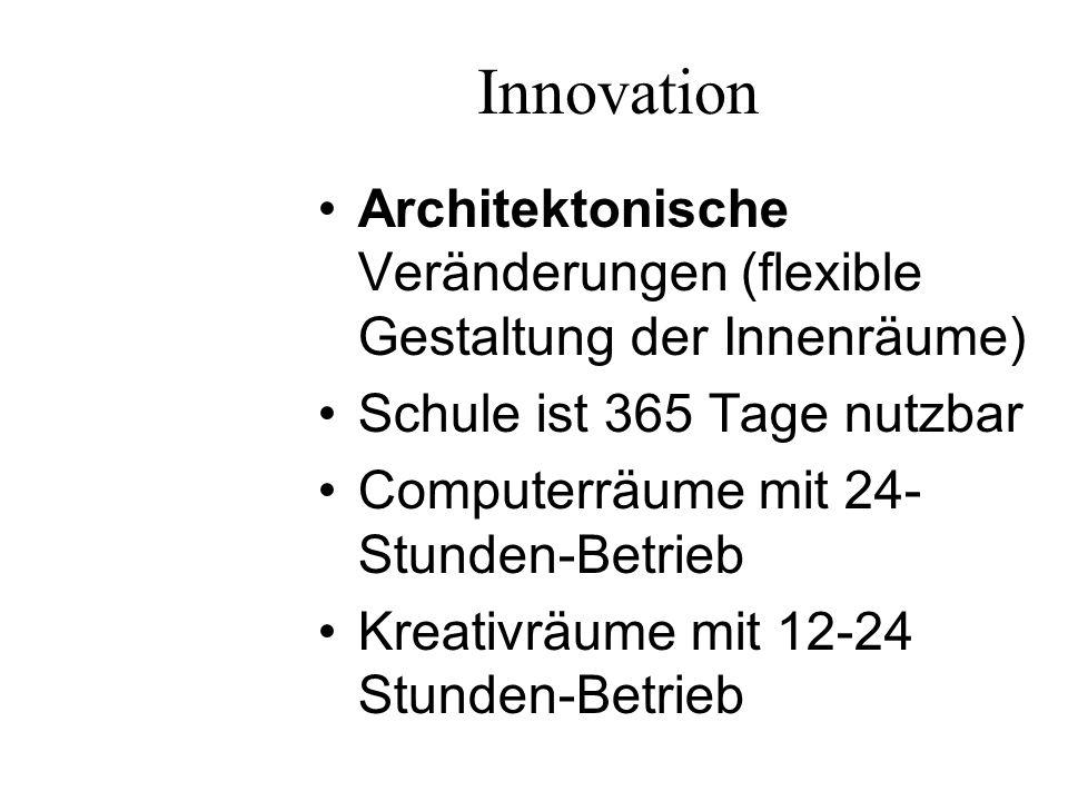 Innovation Schülerprofessionalisierung (Tutorenprogramme etc.) Arbeitsteilung: Schulassistent, Sozialarbeiter, Krankenschwester etc.