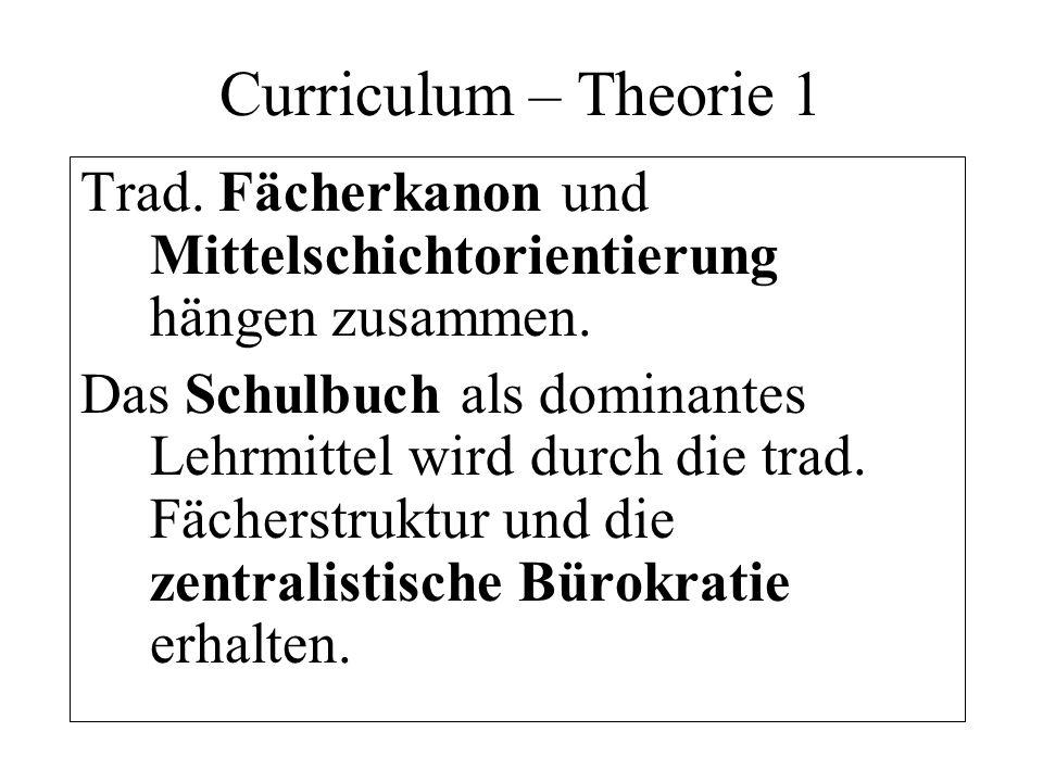 Curriculum Schlüsselbegriffe: Traditioneller Fächerkanon, zentralistische Bürokratie, Mittelschichtorientierung, Kognitivismus, Schulautonomie, Schulbuchdominanz, Schulunlust, Lebensweltferne.