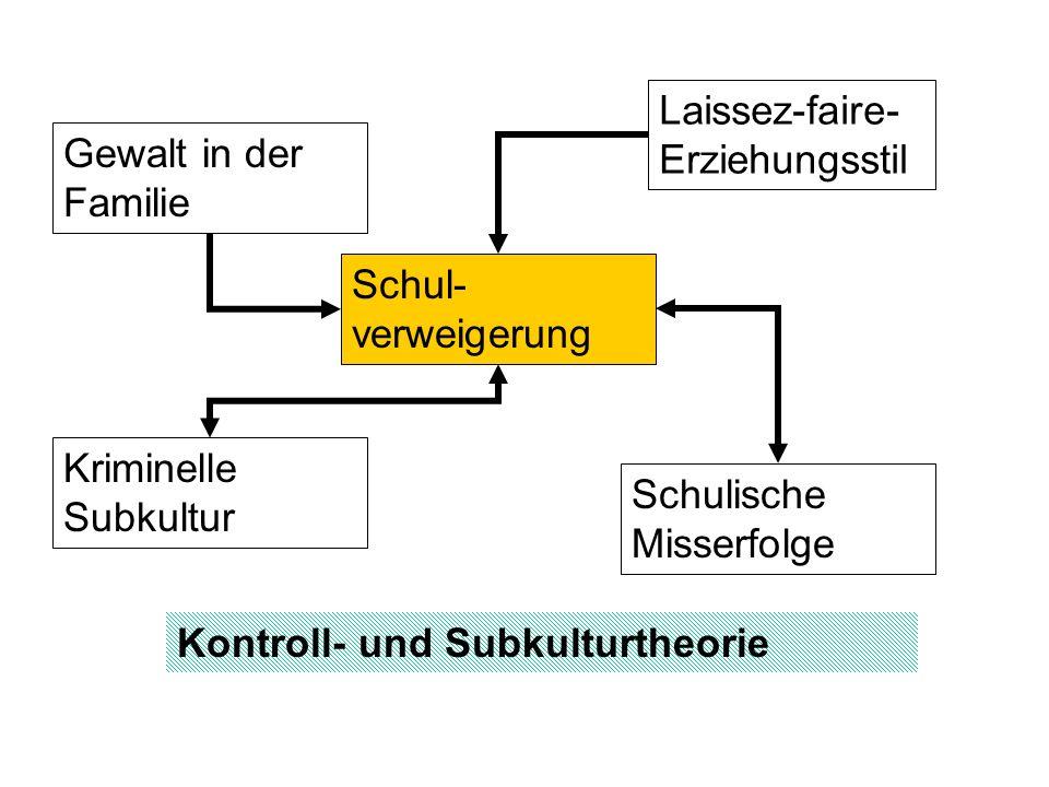 Schulverweigerung - Theorie Theorien 1.Kontrolltheorie (z.B.