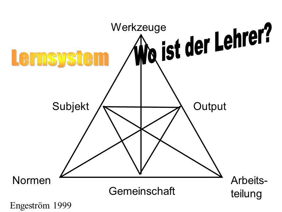 Subjekt NormenArbeits- teilung Gemeinschaft Werkzeuge Output Engeström 1999