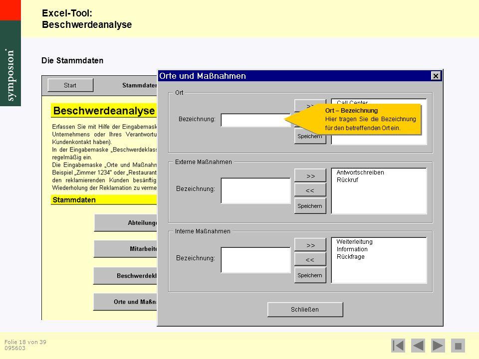 Excel-Tool: Beschwerdeanalyse  Folie 18 von 39 095603 Die Stammdaten Ort – Bezeichnung Hier tragen Sie die Bezeichnung für den betreffenden Ort ein.