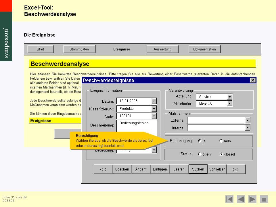 Excel-Tool: Beschwerdeanalyse  Folie 31 von 39 095603 Die Ereignisse Berechtigung Wählen Sie aus, ob die Beschwerde als berechtigt oder unberechtigt beurteilt wird.