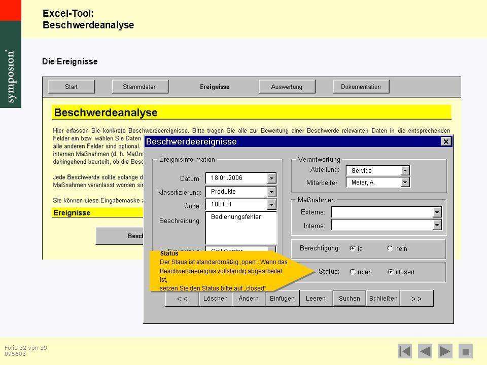 """Excel-Tool: Beschwerdeanalyse  Folie 32 von 39 095603 Die Ereignisse Status Der Staus ist standardmäßig """"open ."""