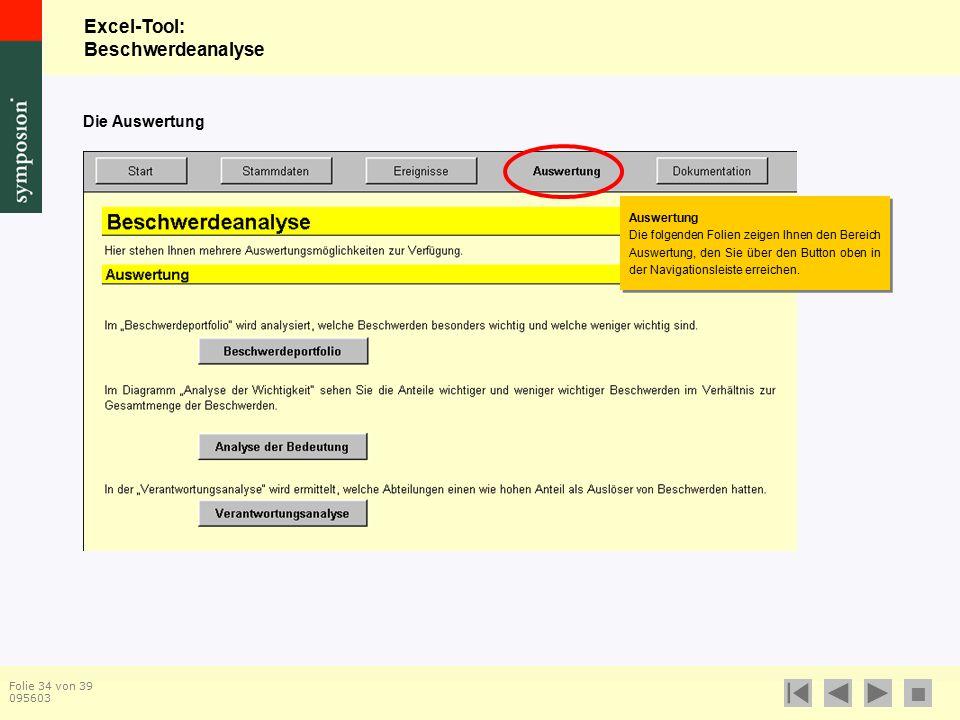Excel-Tool: Beschwerdeanalyse  Folie 34 von 39 095603 Die Auswertung Auswertung Die folgenden Folien zeigen Ihnen den Bereich Auswertung, den Sie über den Button oben in der Navigationsleiste erreichen.