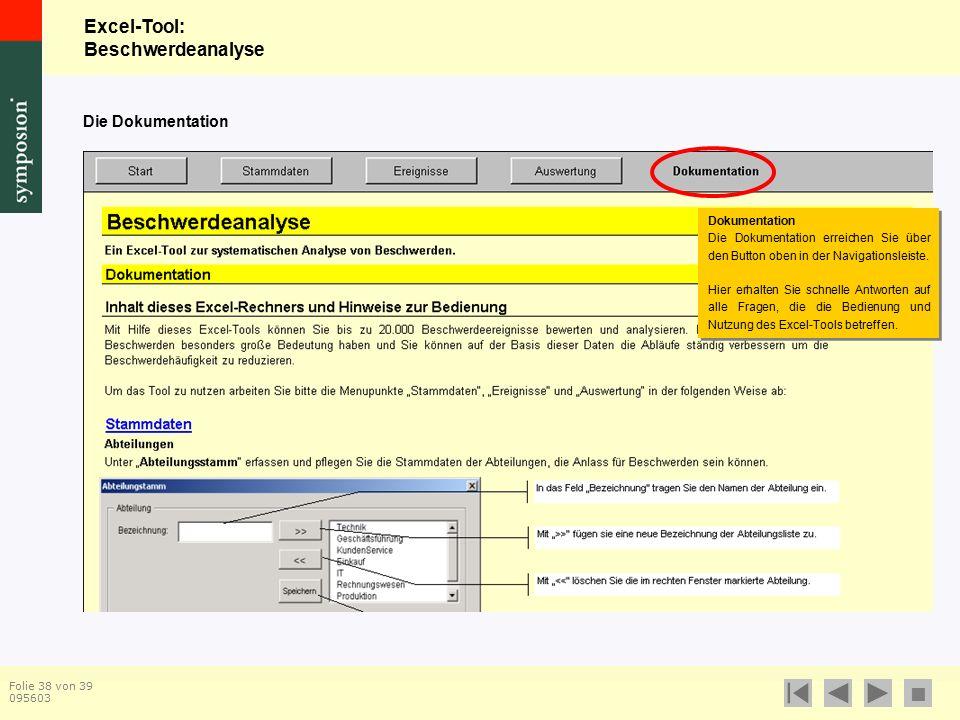 Excel-Tool: Beschwerdeanalyse  Folie 38 von 39 095603 Die Dokumentation Dokumentation Die Dokumentation erreichen Sie über den Button oben in der Navigationsleiste.