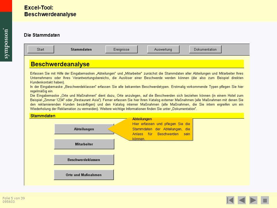 Excel-Tool: Beschwerdeanalyse  Folie 5 von 39 095603 Die Stammdaten Abteilungen Hier erfassen und pflegen Sie die Stammdaten der Abteilungen, die Anlass für Beschwerden sein können.