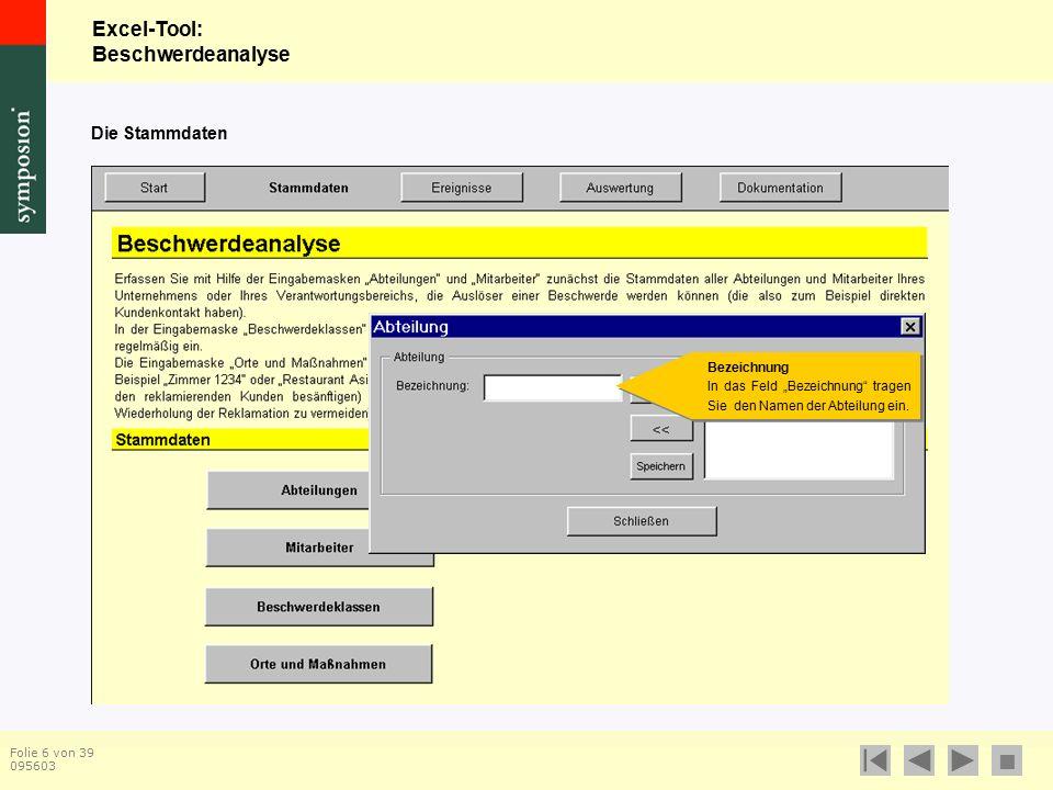 Excel-Tool: Beschwerdeanalyse  Folie 17 von 39 095603 Die Stammdaten Orte und Maßnahmen Hier erfassen und pflegen Sie die Liste der Orte, auf die sich Beschwerden beziehen können (z.