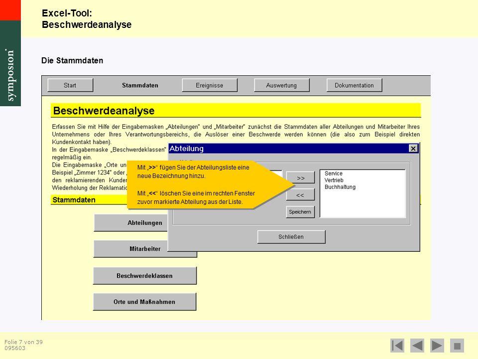 """Excel-Tool: Beschwerdeanalyse  Folie 7 von 39 095603 Die Stammdaten Mit """">> fügen Sie der Abteilungsliste eine neue Bezeichnung hinzu."""