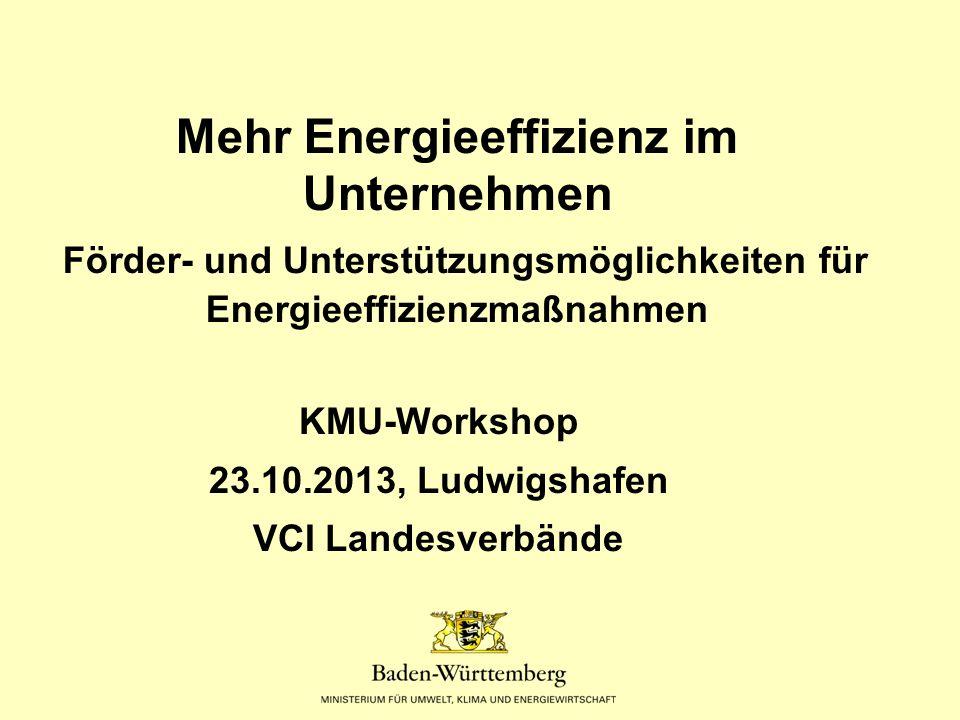 Förderprogramme für Gewerbe (KMU) Energieeffizienz-Maßnahmen und Beratung  Klimaschutz-Plus-Programm Baden-Württemberg Zuschüsse für (analog auch für Kommunen+Vereine) - Energieanalyse für Gewerbegebäude (bis 50%) - Maßnahmen zur CO2-Reduzierung an Gebäuden (50 EUR/t CO2)  KfW-Energieeffizenz in KMU - Zuschüsse für Energieeffizienz-Beratung (bis 60 bzw 80%) - Darlehen für Umsetzung von CO2-Maßnahmen in Gebäuden und bei Prozesse  Landesdarlehen: Energieeffizienz-Finanzierung Mittelstand weitere Zinsverbilligung der KfW-Mittel um 0,75%-Punkte  BAFA: Zuschüsse für Querschnittstechnologien  BAFA: Zuschüsse für Gewerbekälte  BAFA: Zuschüsse für kleine BHKW`s (bis 20 kW el)  Erneuerbare Wärmeerzeugung: Solar, Holz, Geo, WP (auch Nicht-KMU) Marktanreizprogramm (BAFA): Kleinanlagen Zuschuss, Großanlagen Darlehen mit Tilgungszuschuss