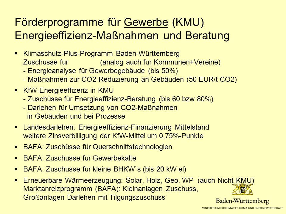 Förderprogramme für Gewerbe (KMU) Energieeffizienz-Maßnahmen und Beratung  Klimaschutz-Plus-Programm Baden-Württemberg Zuschüsse für (analog auch für