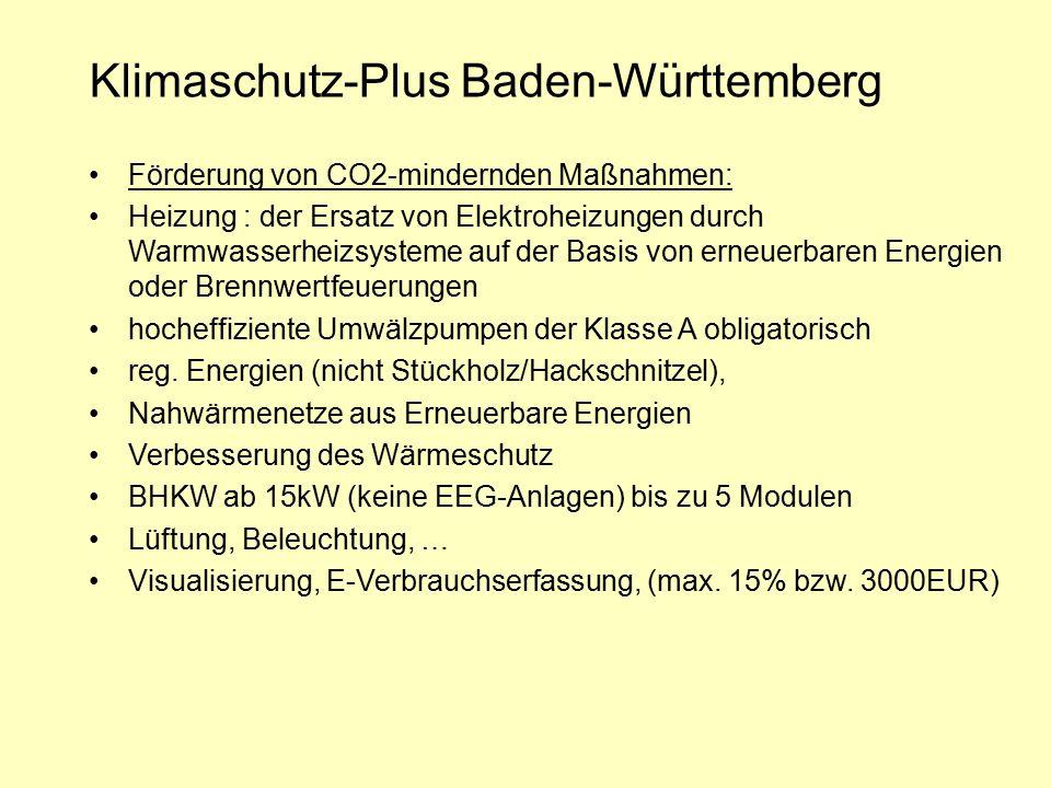 Klimaschutz-Plus Baden-Württemberg Förderung von CO2-mindernden Maßnahmen: Heizung : der Ersatz von Elektroheizungen durch Warmwasserheizsysteme auf d