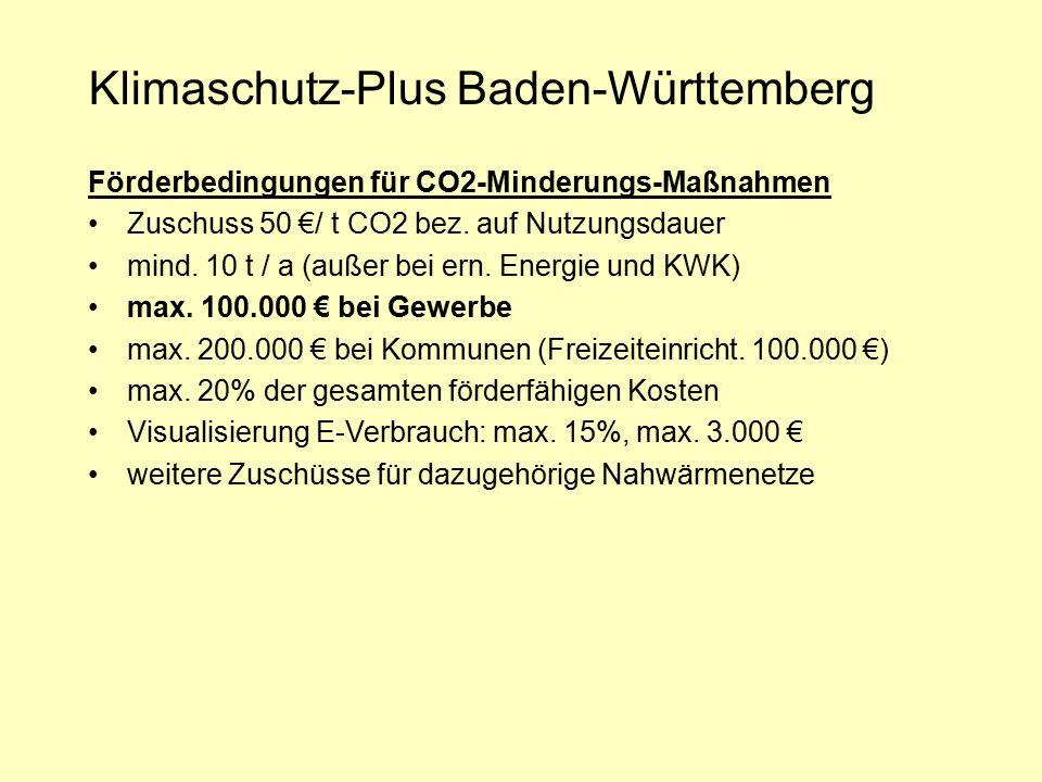 Klimaschutz-Plus Baden-Württemberg Förderbedingungen für CO2-Minderungs-Maßnahmen Zuschuss 50 €/ t CO2 bez. auf Nutzungsdauer mind. 10 t / a (außer be