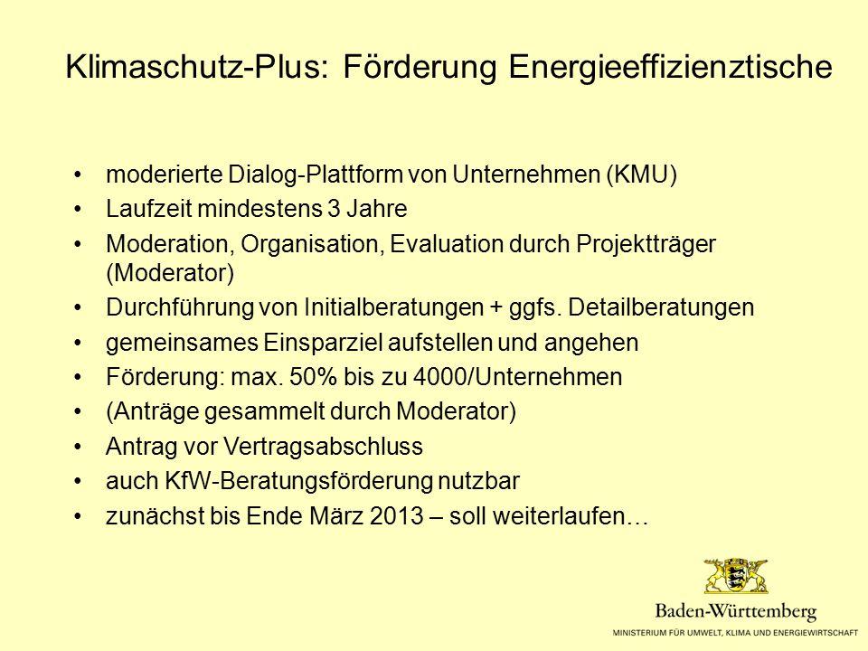 Klimaschutz-Plus: Förderung Energieeffizienztische moderierte Dialog-Plattform von Unternehmen (KMU) Laufzeit mindestens 3 Jahre Moderation, Organisat