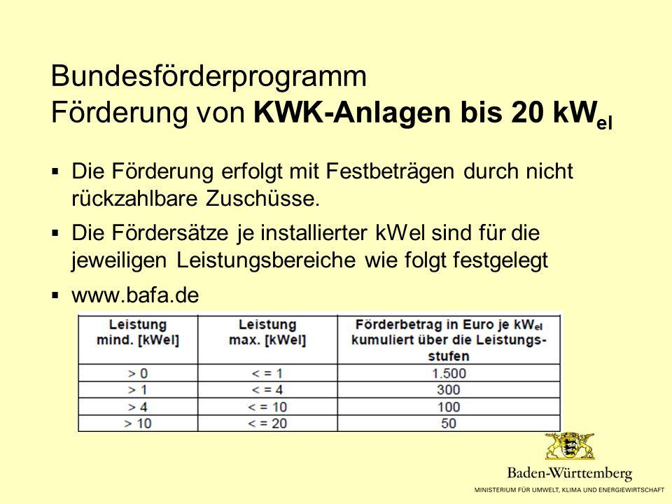 Bundesförderprogramm Förderung von KWK-Anlagen bis 20 kW el  Die Förderung erfolgt mit Festbeträgen durch nicht rückzahlbare Zuschüsse.  Die Förders