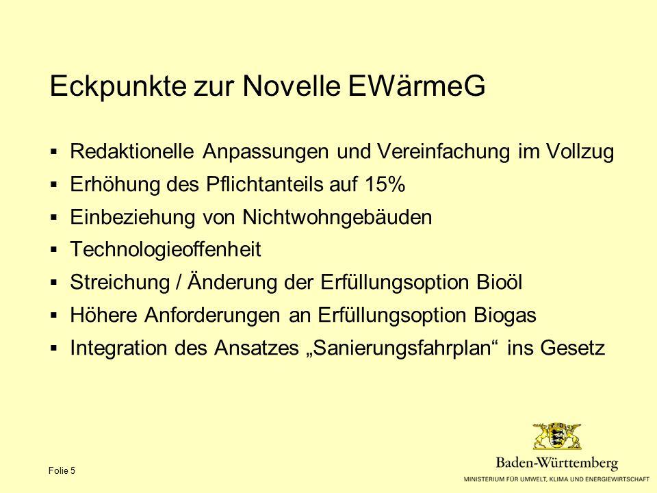 Eckpunkte zur Novelle EWärmeG Folie 5  Redaktionelle Anpassungen und Vereinfachung im Vollzug  Erhöhung des Pflichtanteils auf 15%  Einbeziehung vo