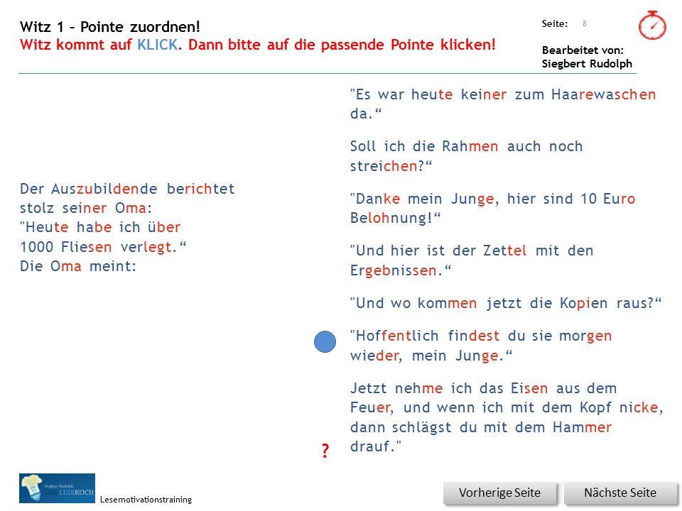 Übungsart: Seite: Bearbeitet von: Siegbert Rudolph Lesemotivationstraining 19 Du bist der Lehrer – korrigiere die Fehler.