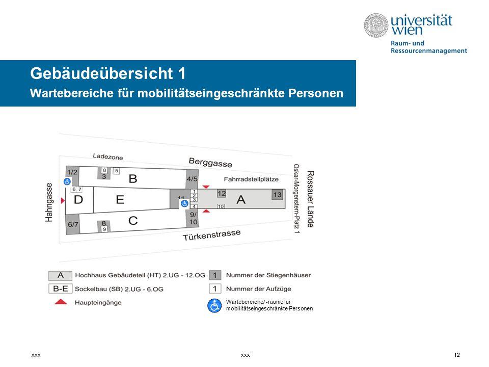 12xxx12xxx Gebäudeübersicht 1 Wartebereiche für mobilitätseingeschränkte Personen Wartebereiche/ -räume für mobilitätseingeschränkte Personen