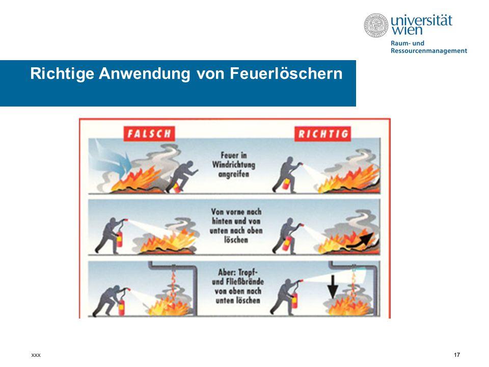 17xxx17 Richtige Anwendung von Feuerlöschern
