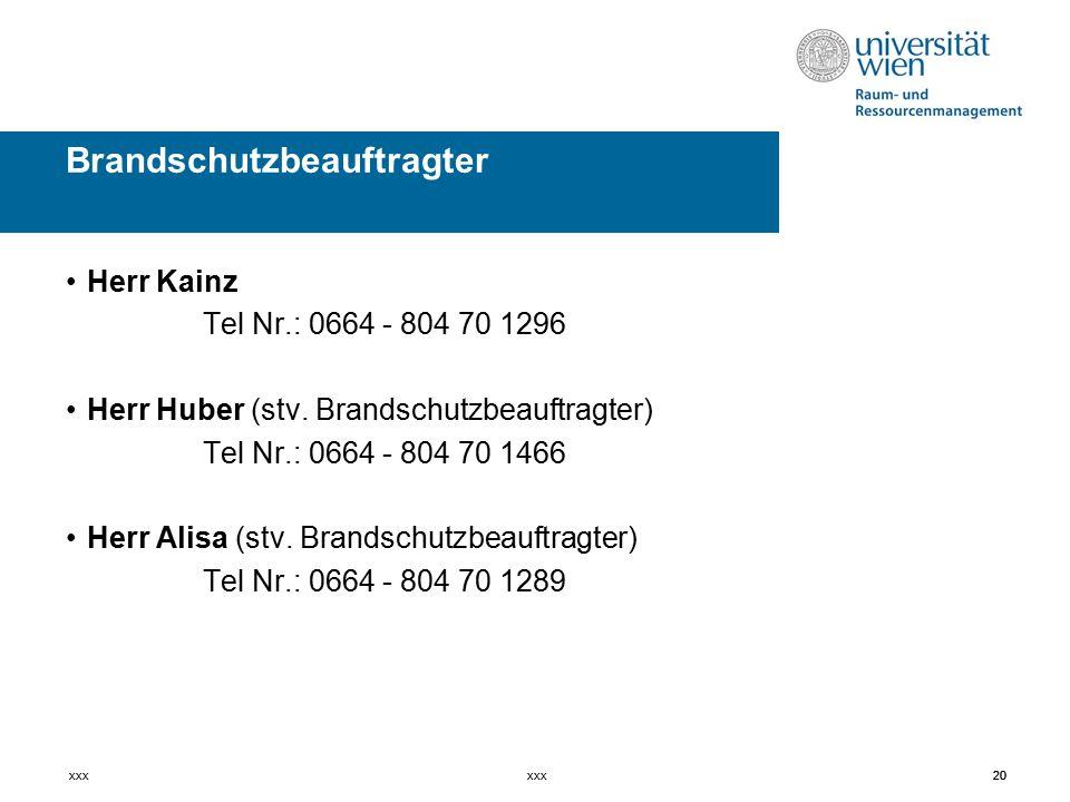 20 Herr Kainz Tel Nr.: 0664 - 804 70 1296 Herr Huber (stv.