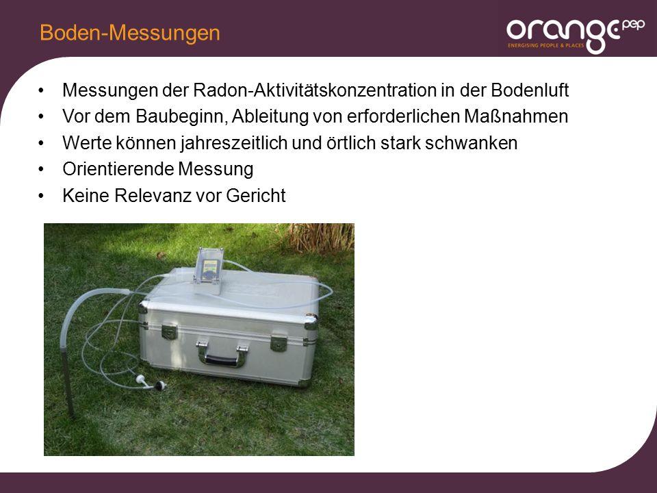 Messungen der Radon-Aktivitätskonzentration in der Bodenluft Vor dem Baubeginn, Ableitung von erforderlichen Maßnahmen Werte können jahreszeitlich und örtlich stark schwanken Orientierende Messung Keine Relevanz vor Gericht Boden-Messungen