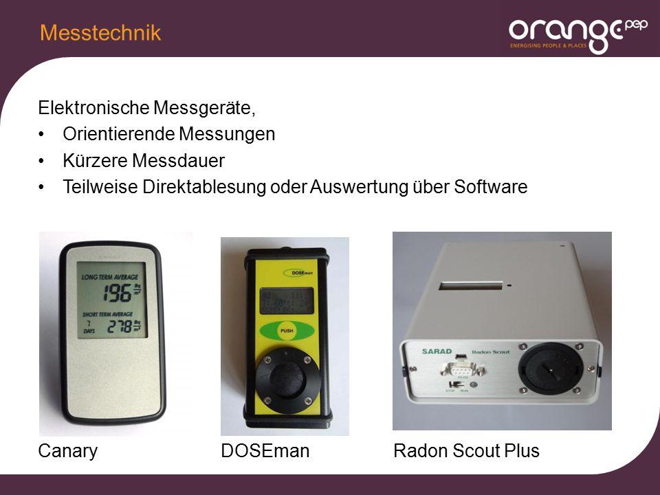 Elektronische Messgeräte, Orientierende Messungen Kürzere Messdauer Teilweise Direktablesung oder Auswertung über Software Canary DOSEman Radon Scout Plus Messtechnik