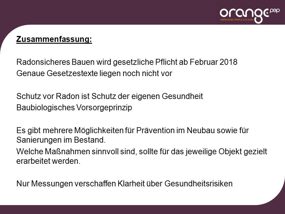 Zusammenfassung: Radonsicheres Bauen wird gesetzliche Pflicht ab Februar 2018 Genaue Gesetzestexte liegen noch nicht vor Schutz vor Radon ist Schutz d