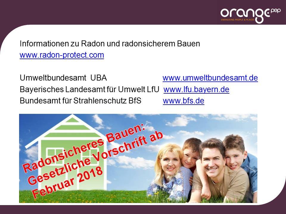 Informationen zu Radon und radonsicherem Bauen www.radon-protect.com Umweltbundesamt UBA www.umweltbundesamt.dewww.umweltbundesamt.de Bayerisches Landesamt für Umwelt LfU www.lfu.bayern.dewww.lfu.bayern.de Bundesamt für Strahlenschutz BfS www.bfs.dewww.bfs.de