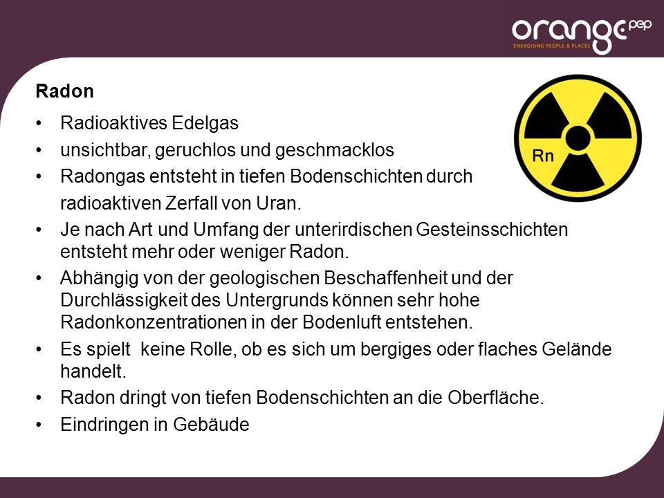 Radon Radioaktives Edelgas unsichtbar, geruchlos und geschmacklos Radongas entsteht in tiefen Bodenschichten durch radioaktiven Zerfall von Uran.