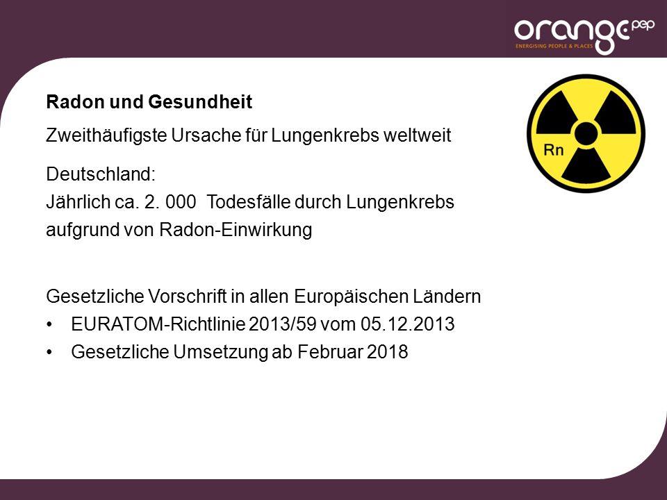Radon und Gesundheit Zweithäufigste Ursache für Lungenkrebs weltweit Deutschland: Jährlich ca.