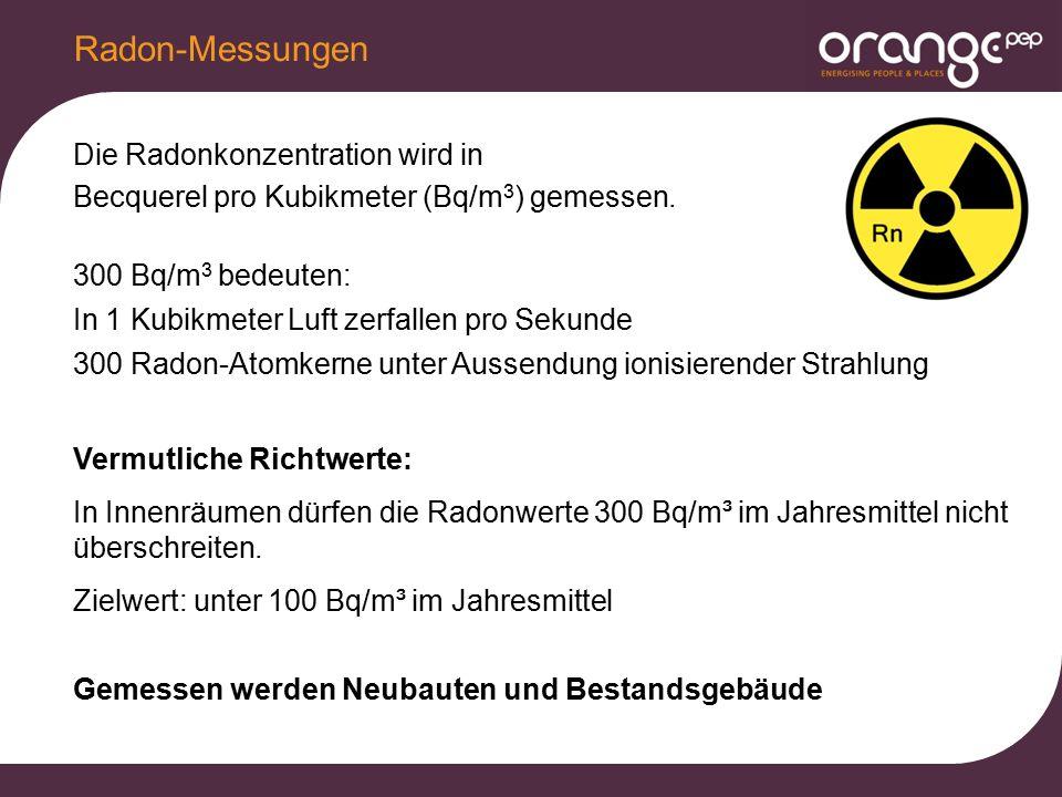 Die Radonkonzentration wird in Becquerel pro Kubikmeter (Bq/m 3 ) gemessen. 300 Bq/m 3 bedeuten: In 1 Kubikmeter Luft zerfallen pro Sekunde 300 Radon-