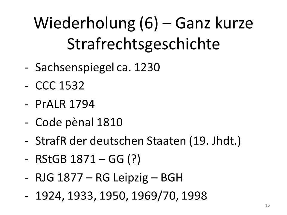 Wiederholung (6) – Ganz kurze Strafrechtsgeschichte -Sachsenspiegel ca.