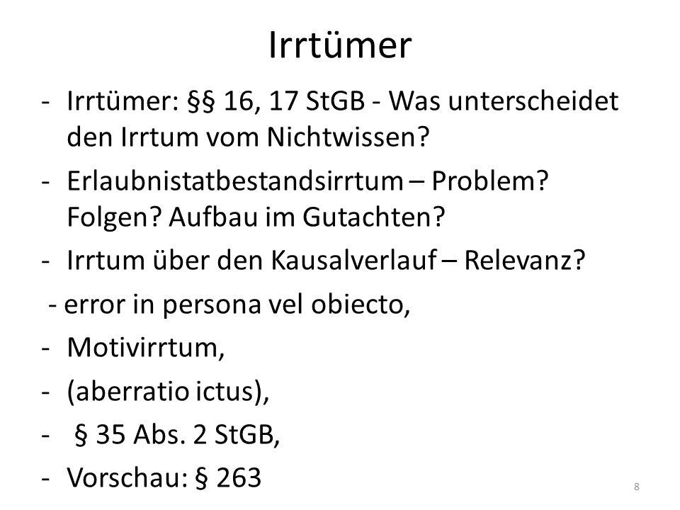 Irrtümer -Irrtümer: §§ 16, 17 StGB - Was unterscheidet den Irrtum vom Nichtwissen.