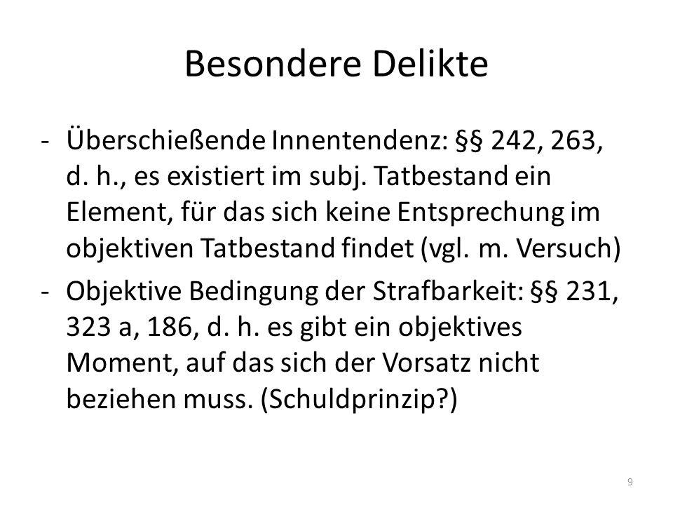 Besondere Delikte -Überschießende Innentendenz: §§ 242, 263, d.