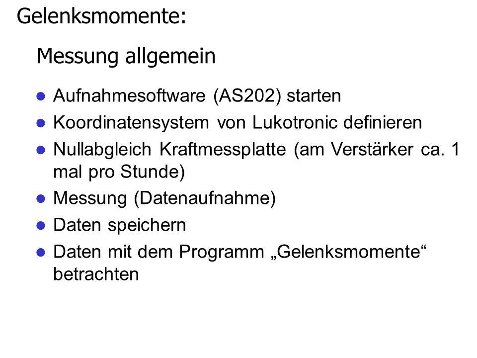 Messung allgemein Aufnahmesoftware (AS202) starten Koordinatensystem von Lukotronic definieren Nullabgleich Kraftmessplatte (am Verstärker ca.