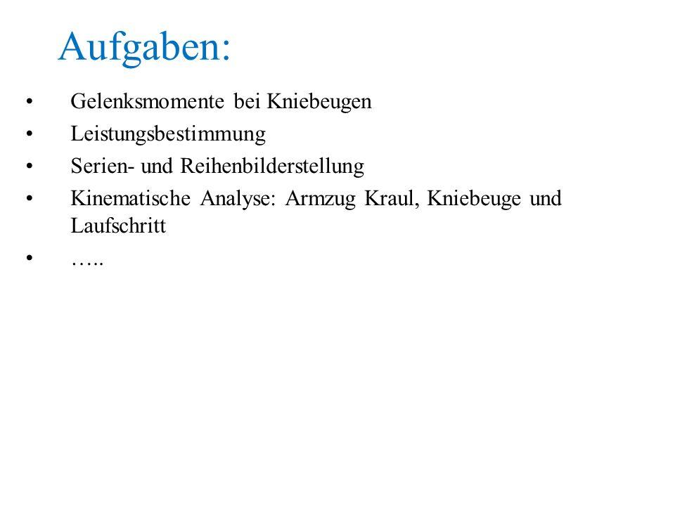 Gelenksmomente bei Kniebeugen Leistungsbestimmung Serien- und Reihenbilderstellung Kinematische Analyse: Armzug Kraul, Kniebeuge und Laufschritt …..