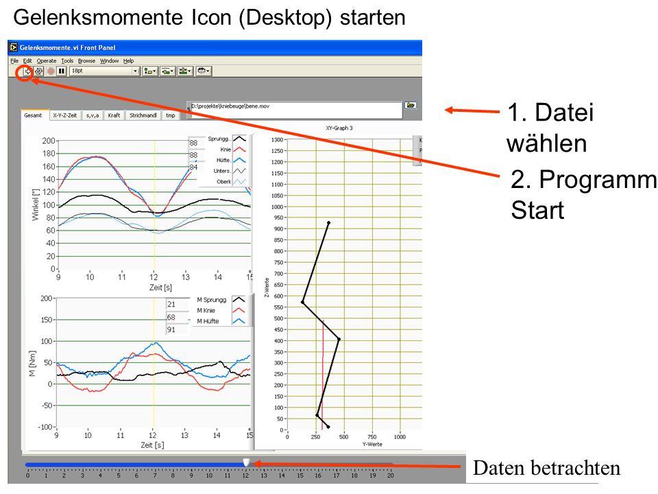 1. Datei wählen 2. Programm Start Gelenksmomente Icon (Desktop) starten Daten betrachten